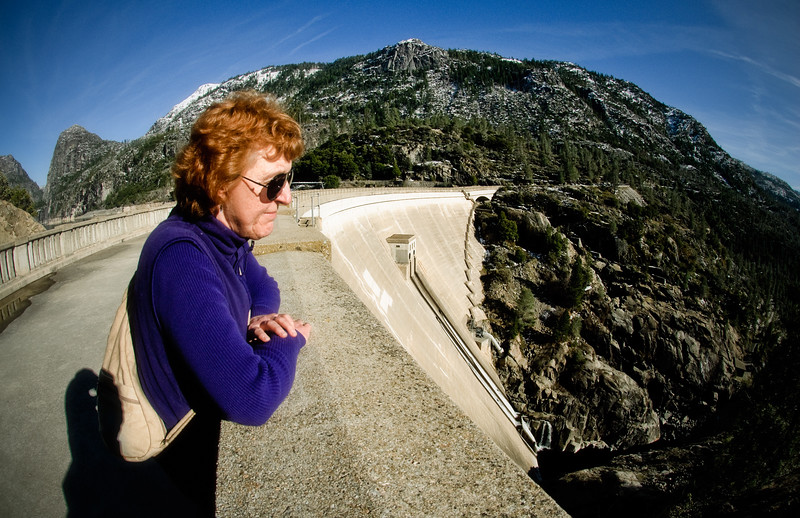 Candace at the O'Shaughnessy Dam