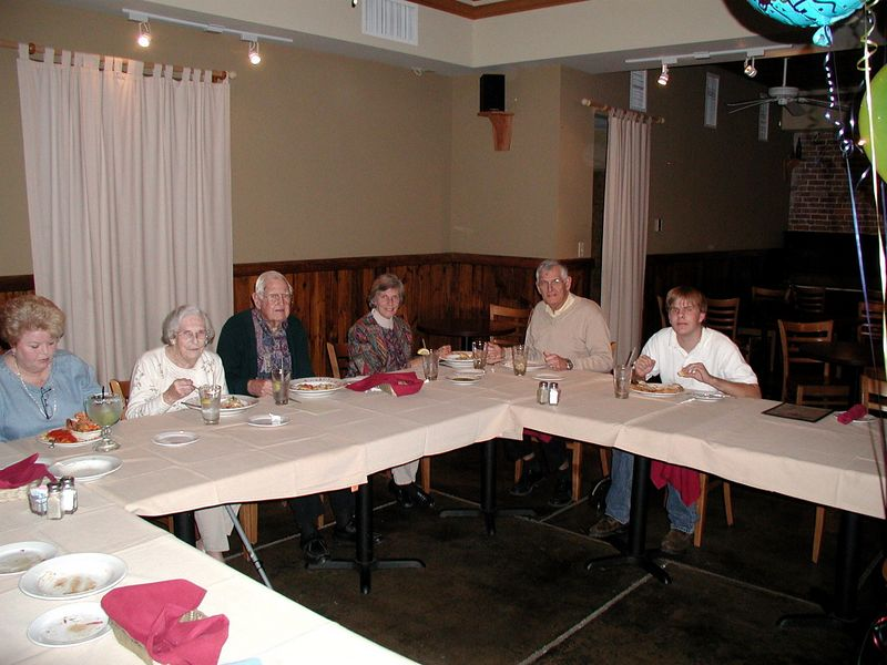 2/11/05 Some of Dad's family gathered at Caffe Capri Ristoran in Historic towntown Eusis for a 90th Birthday dinner.  From the left - - Linda my wife, Mom, Dad, sister-in-law Syl, brother David, his grandson David.