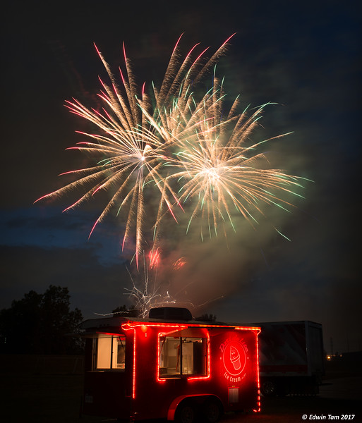Fireworks and the Dari Delite trailer on July 8, 2017.