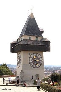 Graz, Steiermark, Austria  08/25/2017 The clock tower from 1560 where the long hand denotes the hours and  the shorter shows the minutes.    (The hours can be seen from  further away). This work is licensed under a Creative Commons Attribution- NonCommercial 4.0 International License
