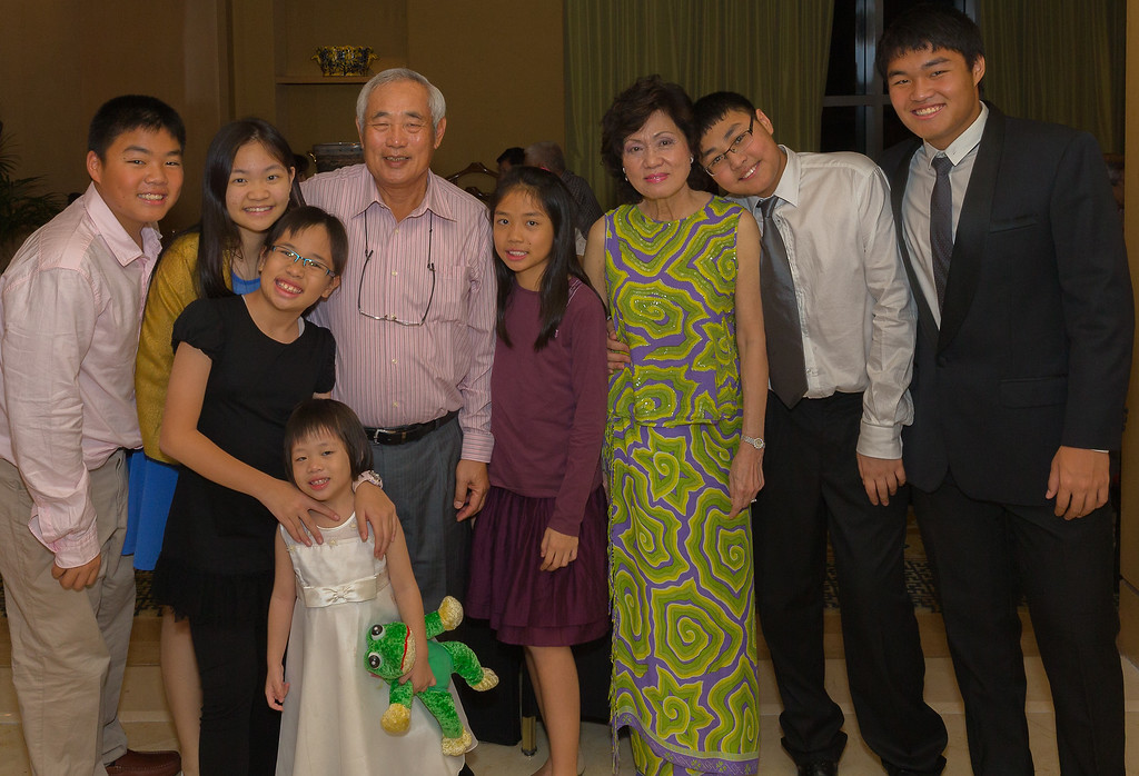 The Chen Family grandkids with the Chen Chye and Nellie Chen at their 44th wedding anniverary