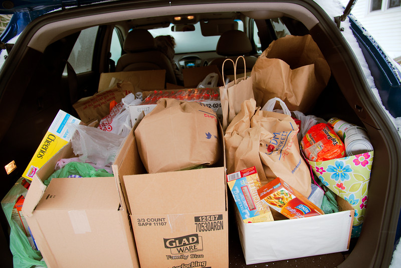 Calvin asked for food donations in lieu of gifts.