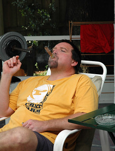 Enjoying a cigar at home - June, 2005