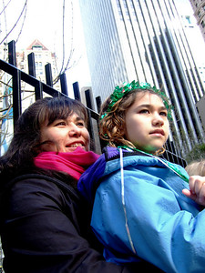 Mary and Elia watch the St. Patty's parade in San Fransisco, March 15, 2008.