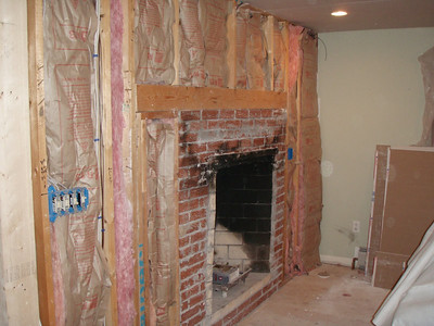 The fireplace face was removed, now we need to get the gas log insert and and cover it up!