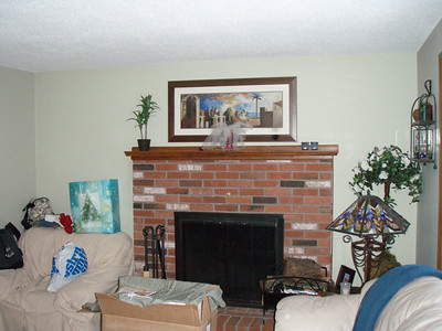 Before picture of the fireplace in the Family room