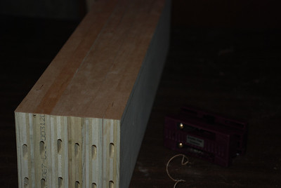 6 supports ready for stain. The trimmer used to trim the edge banding is seen on the right. The slots seen on some of the boards were made by a Festool Domino machine at a friend's house. See it in action here: http://video.google.com/videoplay?docid=1581599047487979329