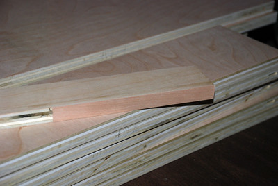 After trimming and sanding, note that the cherry edge is slightly darker than the birch. The stain should fix this.