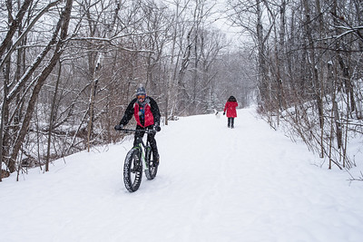 Fat tired mountain biker seen at Hawk Ridge along Amity Creek. Duluth, MN #mountainbike #fattire #snow #winter #duluth #minnesota