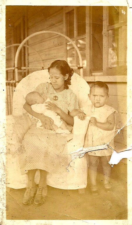 Mama holding Sonny with Mary Etta standing<br /> 1936