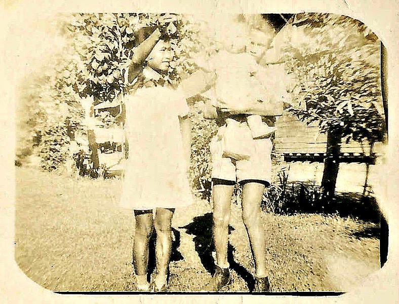 Arthur holding Rick with Boy Sanchez.<br /> Cagayan de Oro City, PI<br /> 1952