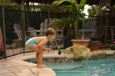 My nephew Ryan taking a swim before our cruise.
