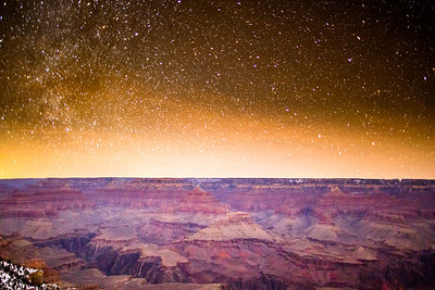 Grand canyon on a moonless night. 8 degrees F when I was shooting.