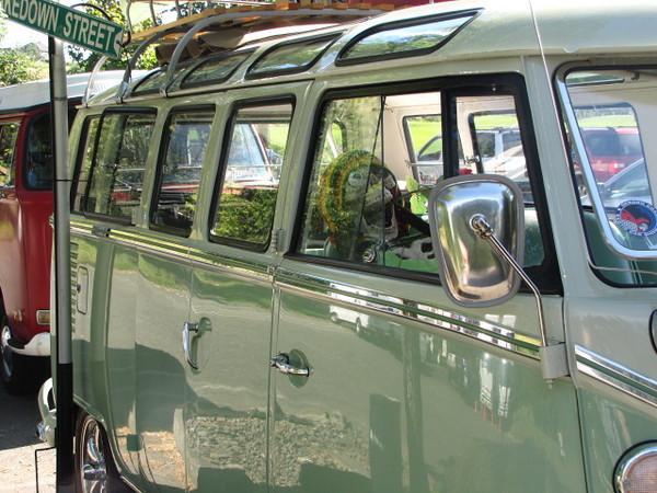 Old hippie van with a fun passenger.