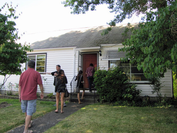 Jen and Gary's house is very modest and looks rather small from the street. What a misconception! The two stories and full basement make the home roomy in spades. Then there is the gigantic back yard. Jealous!!!