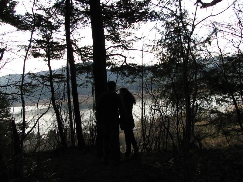 Sara and Alan gazing at the Columbia River far below.