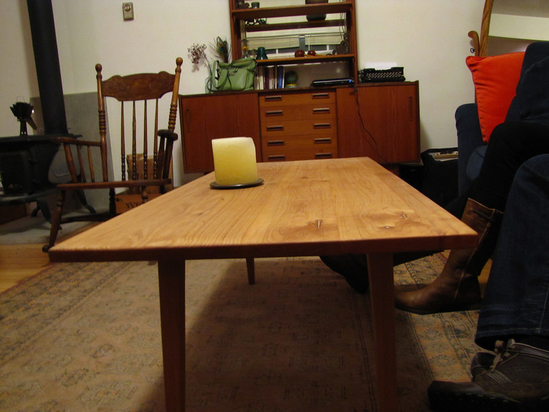 Eric's furniture building, nice coffee table son.