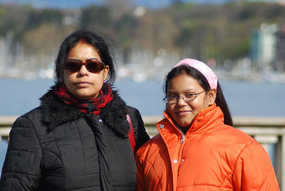 [DSC_1175] Maitreyee and Sohini on the banks of Geneva lake, Geneva.