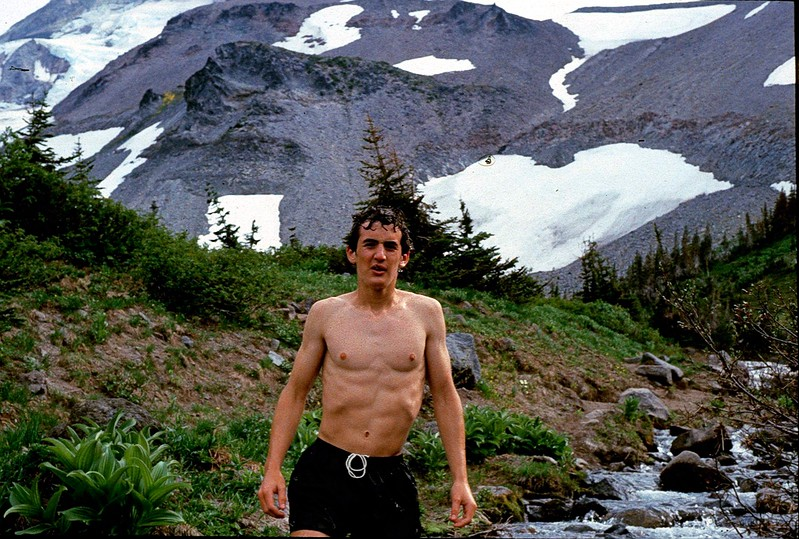 Matt Barmack cools down after a hike around the South Sister, Oregon, 1989.