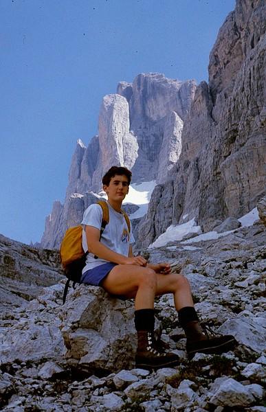 Matt rests on the via Ferrata (iron way) trail in the Dolomite mountains, 1986.