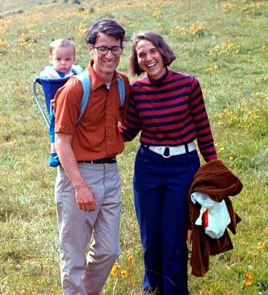 Neal and Judy and 10 month old Matthew walking in the Black Forest in Germany, 1971.