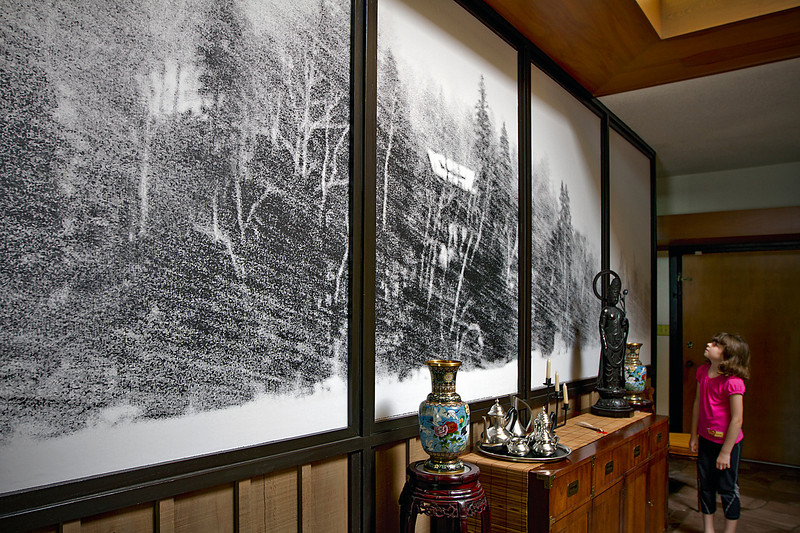 Québec cabin during a blizzard.<br /> Mural 6' x 16', from a single photo taken December 2007
