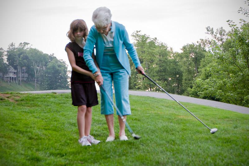 Betty & Stella, first golf lesson<br /> Mountain Air, July 21, 2010