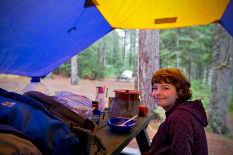 Breakfast under the rain tarp<br /> August 21, 2011