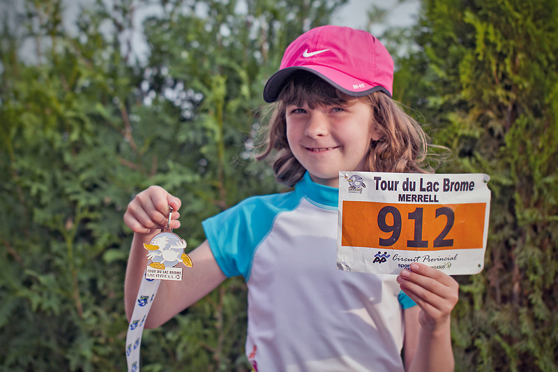 Stella, first among the 8 year-old girls.<br /> Lac Brome 1-km race for kids<br /> June 25, 2010