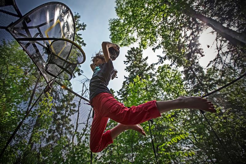 Cabin-side recreation<br /> Trampoline-assisted basket ball<br /> June 5, 2013