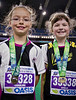 "Montreal 1-km ""Petit-Marathon for kids.  Caroline and Stella after their race.<br /> Stella was first of the 80 8-year old girls and 10th of about 600 13-and-under girls<br /> September 5, 2010"