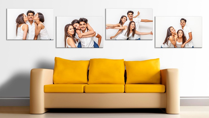 family portrait photographs hanging on the wall