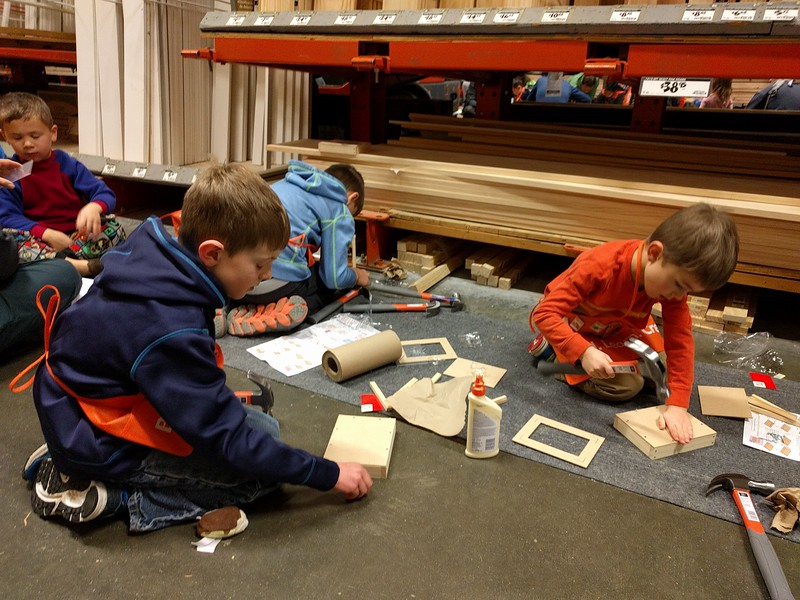 Home Depot Saturday kid's activity.  Despite the appearance, Elliot did not pound his thumb