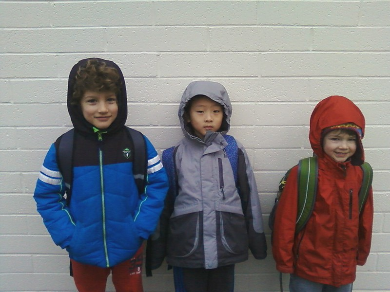Riccardo, Rick, and Elliot waiting for the morning bell.