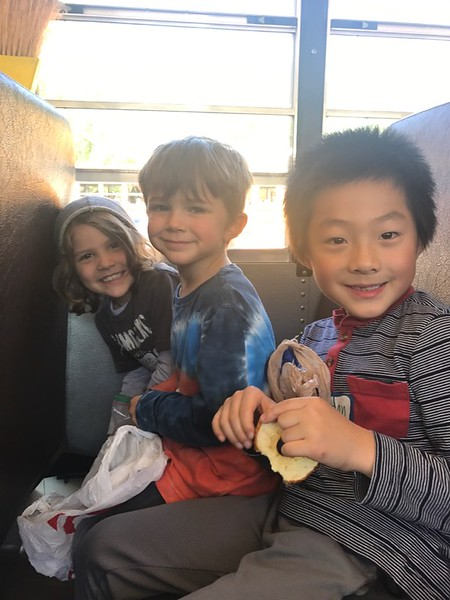 Jake, Elliot, and Aidan on he bus to the zoo