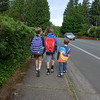 Sebastian, Gil, and Elliot going to school.