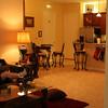 Livining room, kitchen from master bedroom doorway