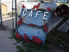 CAFE SIGN<br /> <br /> Is this a great sign, or what? They won't hang it up because the colors aren't right. HUH??? This thing is great! It could use some cleaning up, but I'd take it.