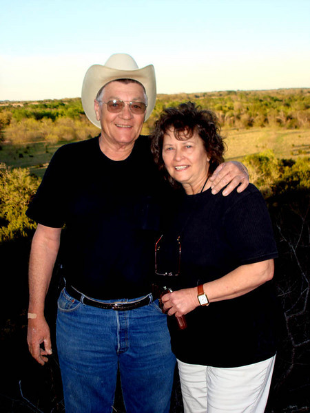 JOE AND LYN ON DODSON LAND<br /> <br /> Here are Joe and Lyn on the land of our great-great-grandparents -- the Dodsons. Carl Duncan's father, James Wilson Duncan, married Josephine Dodson, the daughter of Benjamin Franklin Dodson, whose land this is.