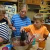 Making Gretchen's birthday cake.