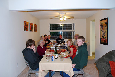 Starting from the front left side of the table and continuing clockwise:  Justin Hazen, Patty Valentine (Jace's mom), Debby Hazen (Jace's sister), Jim Hazen, Ross Bottenberg (Jace's Dad), Jace (king of the feast), Rena Mefford (Jace's step mom), Emily Hazen, and Matt Hazen.  Everyone has a very full tummy at this point!