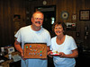 DOUG AND LYN WITH CAKES<br /> Me with my home-baked Coke cake and Lyn with what's left of hers.