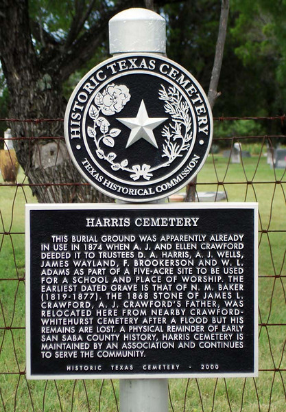 HARRIS CEMETERY HISTORICAL MARKER<br /> A lot of the cemeteries in this area are of historical value, due to them reaching back to the time of the first white settlers.