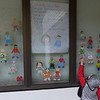 Sebastian's paper doll in his kindergarten window