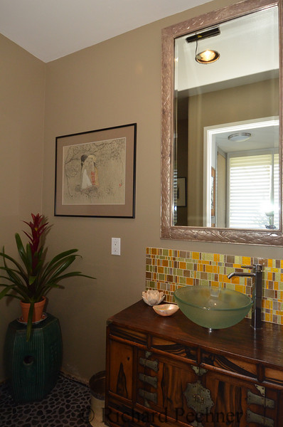 """Downstairs bathroom """"after"""" with new tansu/sink combo"""