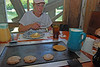 006 Donna with pancakes on the griddle at Deleon Springs