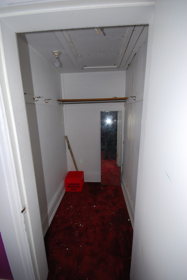 The closet in the red bedroom is the only one that leads to the attic.