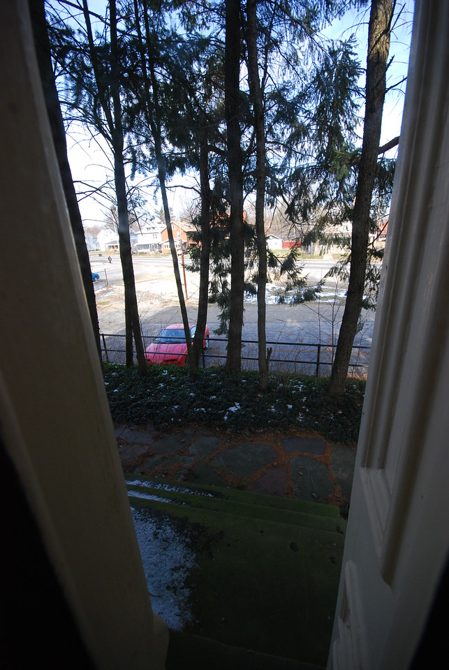 """The old """"front yard"""" looking out over the parking lot."""