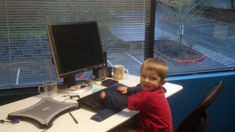 Elliot at Daddy's work