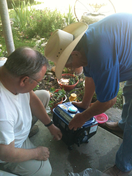 FILL 'ER UP!<br /> Joe tanks up my new generator with 1:60 oil/gas mix.